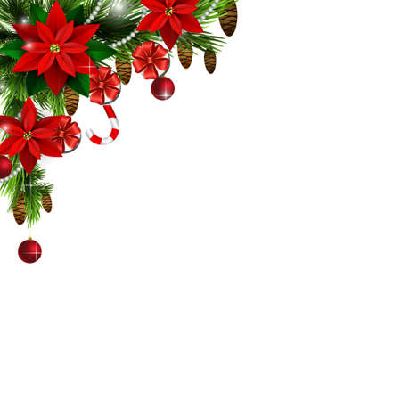 Christmas corner decoration with evergreen treess gift boxes and poinsettia with two cendy canes isolated