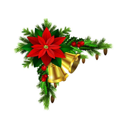 evergreen: Christmas decoration with evergreen treess golden bells and with cones and poinsettia isolated