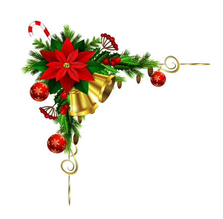 Christmas decoration with evergreen treess paincones and poinsettia gold swirls and golden bells and balls isolated