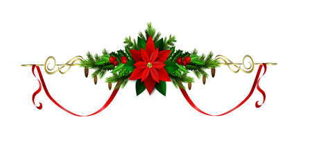 metalic: Christmas decoration with evergreen treess holly and berries and poinsettia and ribbon isolated
