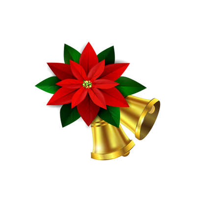 Vector Christmas decorative corner withcolden bells poinsettia and leaves Illustration