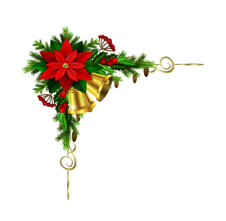 evergreen: Christmas corner decoration with evergreen treess golden swirls and poinsettia with two golden bells isolated