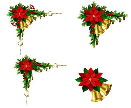 エバー グリーン treess ホリーと松ぼっくりとポインセチア リボン分離と設定コーナー クリスマス装飾  イラスト・ベクター素材