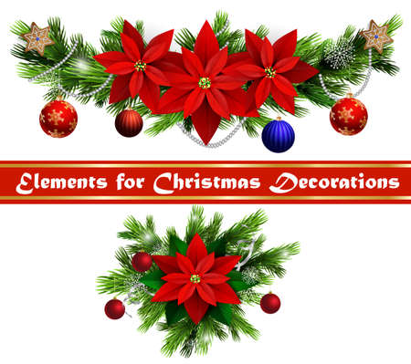 evergreen: Christmas decoration set with evergreen treess holly and poinsettia isolated Illustration