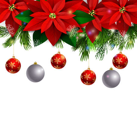 evergreen: Christmas decoration with evergreen trees with poinsettia christmas balls isolated on white Illustration
