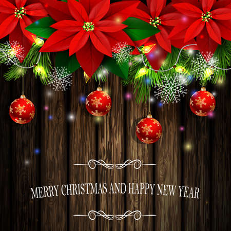 Christmas decoration and greeting card with evergreen trees with poinsettia christmas balls isolated on wooden wall with lights