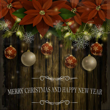 Christmas decoration and greeting card with evergreen trees with poinsettia christmas balls isolated on wooden wall with lights in old photo style