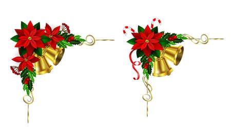 decoración de la esquina de la Navidad fijado con el árbol de hoja perenne treess acebo y piña y flor de pascua y la cinta aisladas
