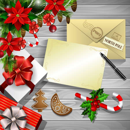 Christmas New Year design wooden background with christmas decorations candy canes with gift boxes and envelope and empty paper for your design pen and gingerbread cookies and poinsettia in red.