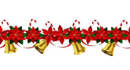 edge design: Seamless border Bright Fun Christmas Winter Holidays Patterns with poinsettia and green holly and berries and golden bells