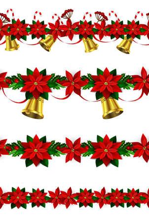 ポインセチアと緑のヒイラギと果実、金の鈴と n のシームレスな国境明るい楽しいクリスマス冬の休日パターンの設定します。  イラスト・ベクター素材