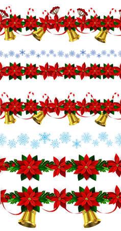 ポインセチアと緑のヒイラギとベリーと黄金の鐘雪と n のシームレスな国境明るい楽しいクリスマス冬の休日パターンの設定します。