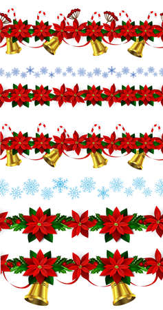 Set of n Seamless borders Bright Fun Christmas Winter Holidays Patterns with poinsettia and green holly and berries and golden bells and snowflakes Vectores
