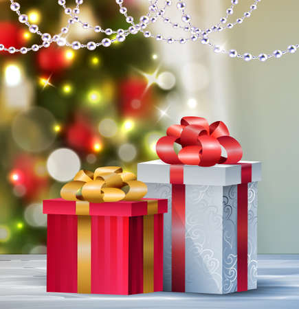 comfortable: Background with two Christmas gift boxes on blur Christmas tree background greeting card Vector
