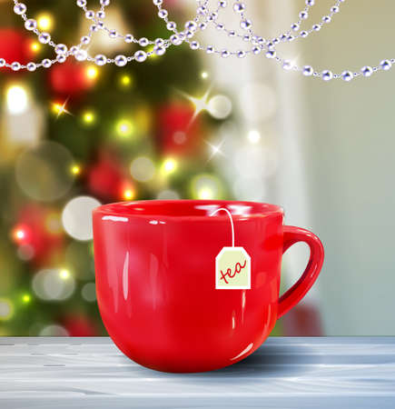 Background with Christmas red mug on blur Christmas tree background greeting card Vector