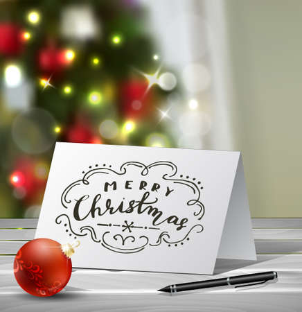 blured: Christmas Greeting Card with nadwritten Merry Christmas letters Vector on blured Christmas tree background
