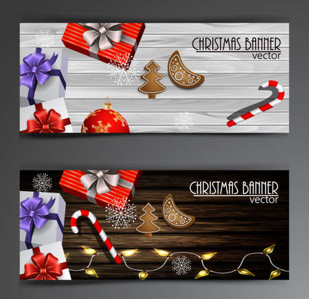 Christmas New Year web banner set with Christmas decorations Vector Stock Vector - 66798919