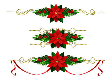 mountain ash: Christmas decoration set with evergreen treess holly and poinsettia isolated Illustration
