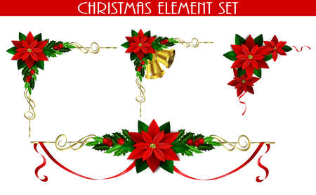 Christmas decoration set with evergreen treess holly and poinsettia isolated Ilustrace