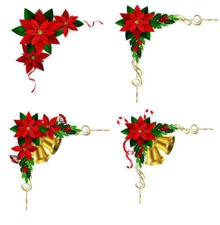 evergreen: corner Christmas decoration set with evergreen treess holly and pinecone and poinsettia and ribbon isolated
