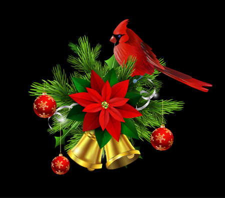 Christmas decoration with evergreen trees and golden bells with poinsettia and Cardinal bird Illustration