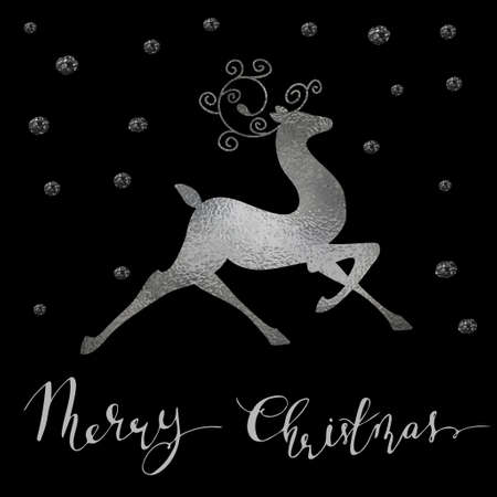 Christmas silver foil reindeer silhouette with snow and handwritten Merry Christmas New year greeting card. Vector.