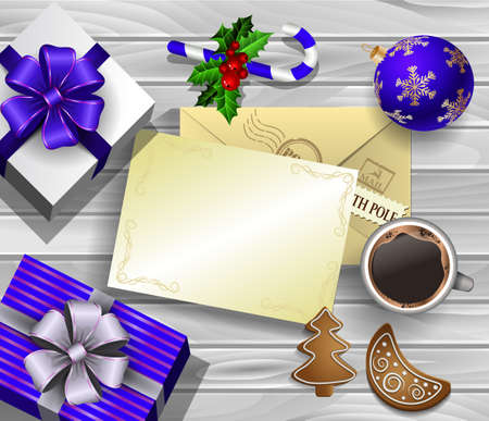 Christmas New Year design wooden background with christmas decorations candy canes with gift boxes and envelope and empty paper for your design cup of coffee and gingerbread cookies. in blue