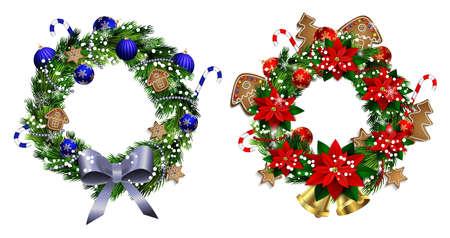 coronas de navidad: Conjunto de guirnaldas de Navidad y el arco y las campanas aisladas sobre fondo blanco con flor de pascua