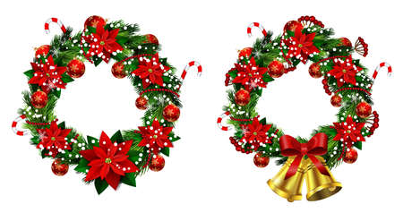 Set of Christmas wreaths and bow and bells isolated on white background with poinsettia Vettoriali