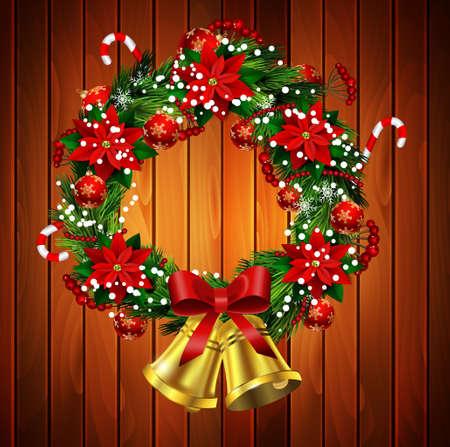 クリスマス リースと弓鐘の木製壁にポインセチアを白い背景上に孤立と白カード  イラスト・ベクター素材