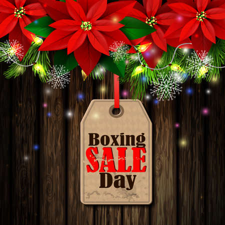 boxing day sale tag with evergreen trees with poinsettia christmas lights isolated on wooden wall stock