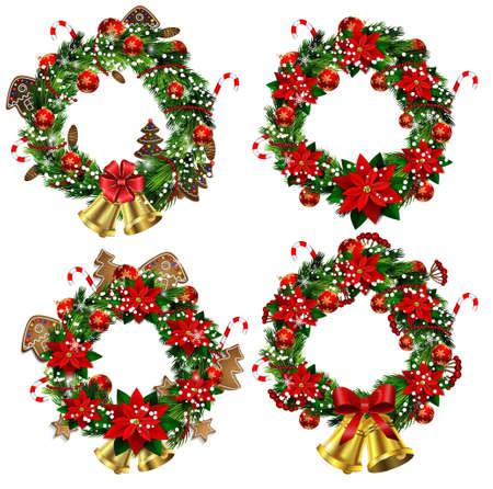 guirnaldas navideñas: Conjunto de guirnaldas de Navidad y el arco y las campanas aisladas sobre fondo blanco con flor de pascua