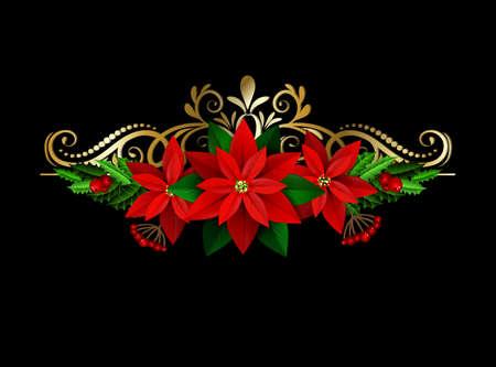 エバー グリーン treess ホリーとポインセチア黒渦に分離されたクリスマスの装飾  イラスト・ベクター素材