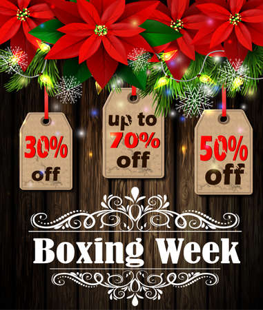 week: Boxing week sale tag with evergreen trees with poinsettia christmas lights isolated on wooden wall