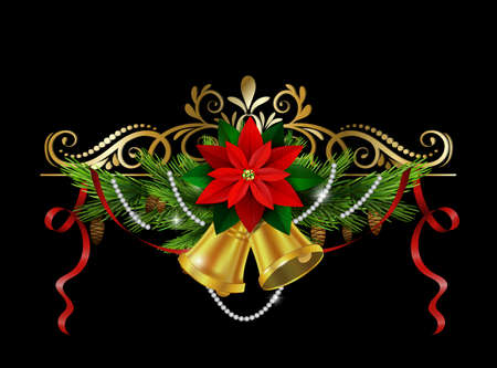 evergreen: Christmas decoration with evergreen treess holly and pinecone and poinsettia and ribbon isolated bells