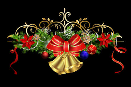 Christmas decoration with evergreen treess holly and pinecone and poinsettia and ribbon isolated with bells Illustration