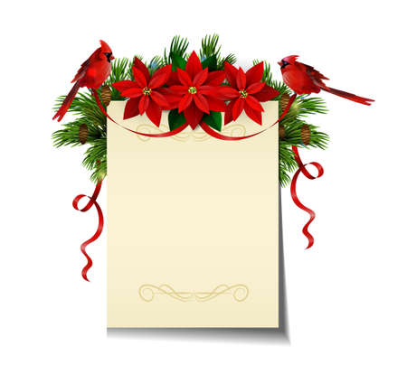 Christmas background with paper ribbon and lights isolated with free space with poinsettia and cardinal bird Illustration