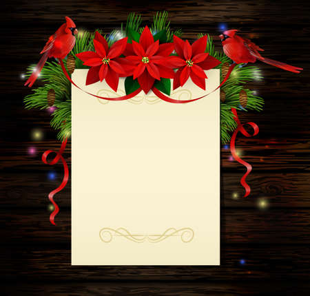 Christmas background with paper ribbon and lights on a wooden wall with free space with poinsettia and cardinal bird