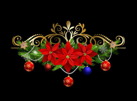Christmas decoration with evergreen treess holly and pinecone and poinsettia and ribbon isolated Illustration