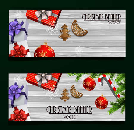 Christmas New Year web banner set with Christmas decorations Vector Illustration