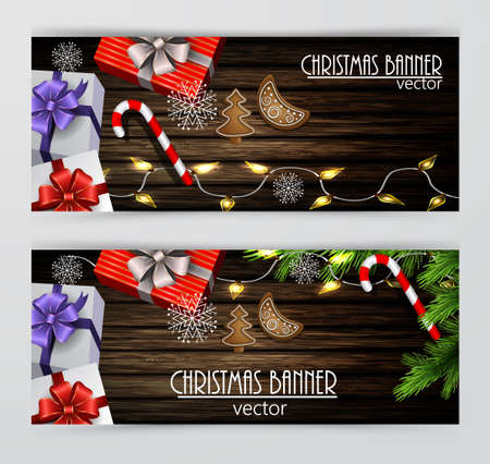 Christmas New Year web banner set with Christmas decorations Vector Stock Vector - 66799009