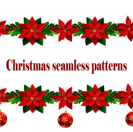 time bound: Set of n Seamless borders Bright Fun Christmas Winter Holidays Patterns with poinsettia and green holly and berries