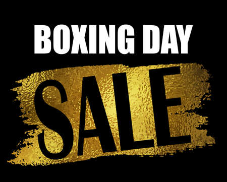 boxing day: Boxing day sale banner with on black with foil