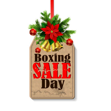 boxing day: Boxing day sale tag with evergreen trees with christmas bells isolated on white