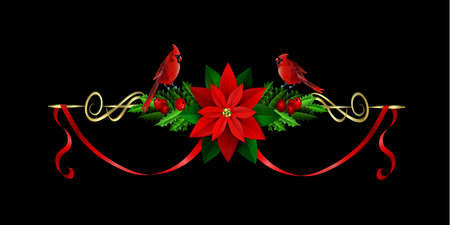 two birds: Christmas decoration with evergreen treess holly and poinsettia isolated on black with swirls with two birds cardinals