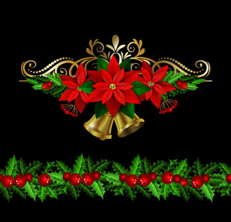 Christmas decoration set with evergreen treess holly and poinsettia isolated on black with swirls and bells and seamless border Illustration
