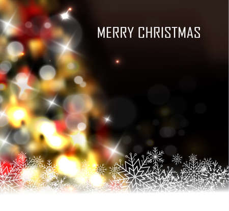 Christmas tree light background. Vector on dark with snow