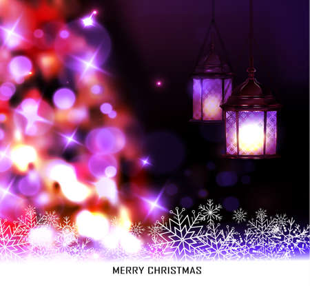 Christmas tree light background. Vector on dark with snow and hanging two street lights