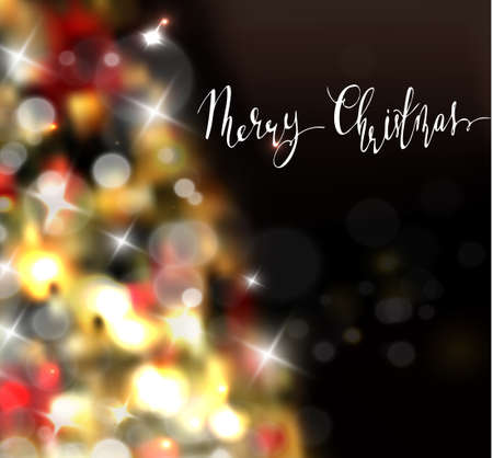 Christmas tree light background. Vector on dark with handwritten Merry Christmas