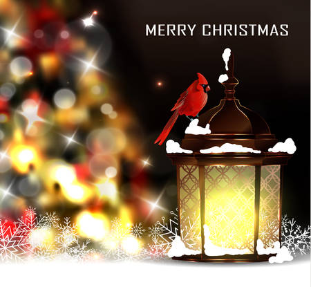 snow cardinal: Christmas tree light background. Vector on dark with snow and standing street light and red bird cardinal